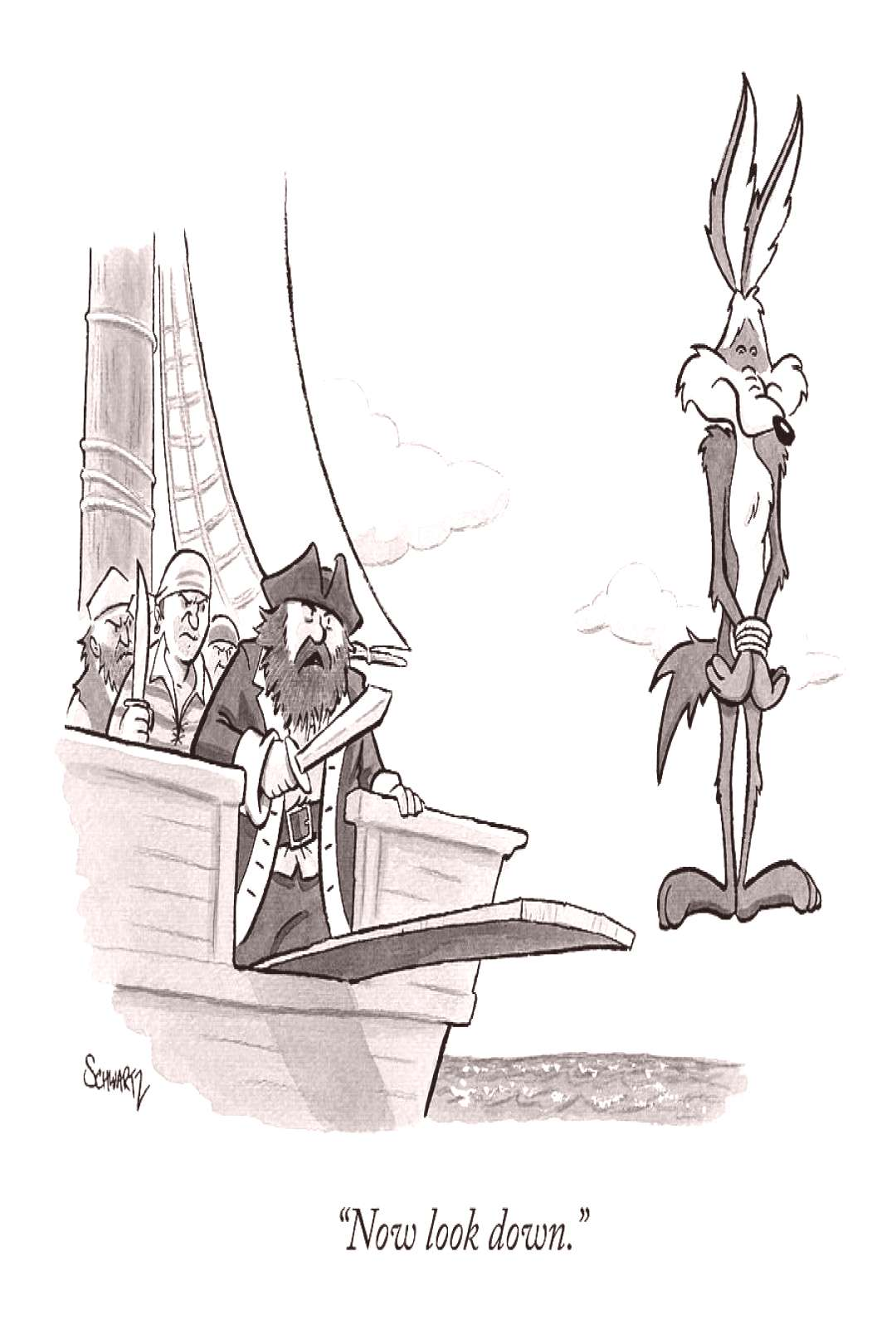 Drawing - Pirates Speak To Wile E. Coyote by Benjamin Schwartz ,