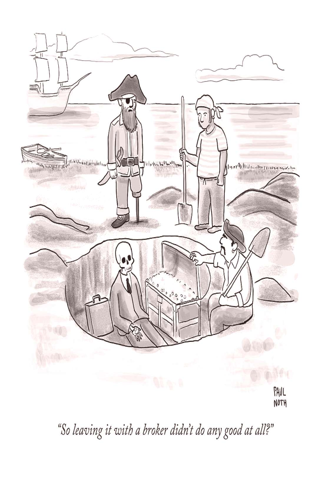 Drawing - Pirates Stand Around A Dug Up Treasure Chest by Paul Noth ,