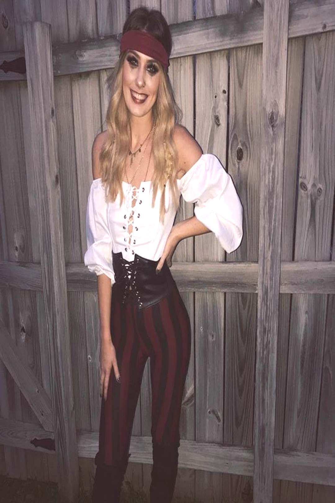 easy last-minute diy costume pirate (for her / woman / women) striped pants (or any), lace-up blo