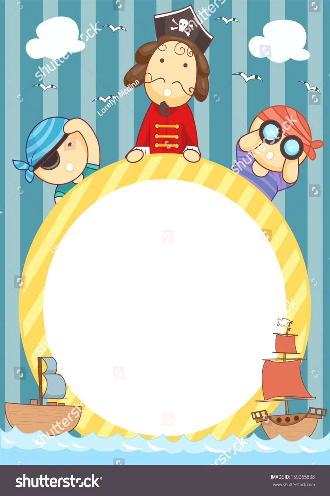 Frame Illustration of Pirates Holding a Circular Frame Flanked by Pirate Ships ,