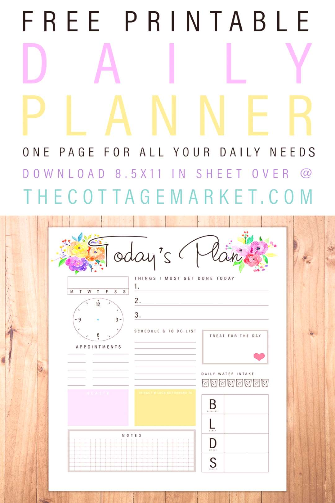Free Printable Daily Planner /// One Page For All Your Daily Needs! - The Cottage Market