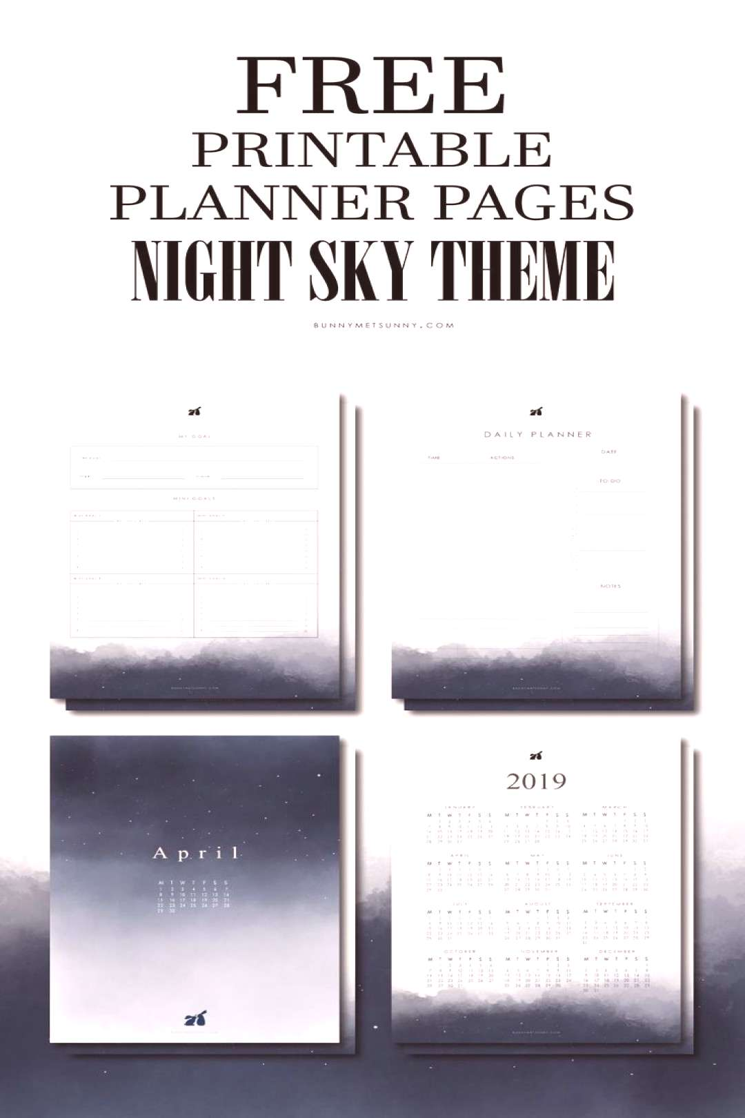 Free Printable Planner Pages with Night Sky Theme. You will get yearly planner, monthly planner, we