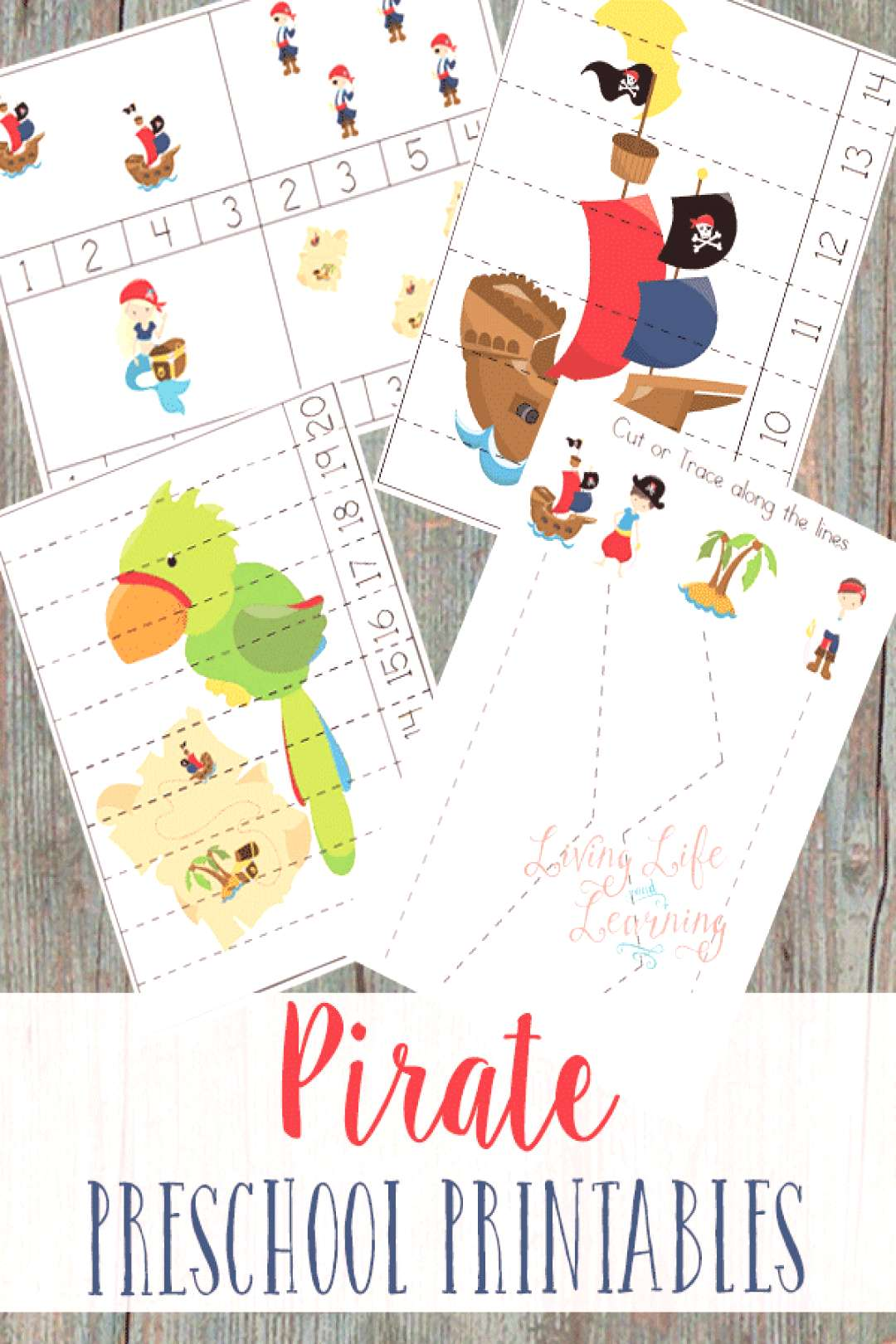 Get into your pirate spirit with these cute pirate preschool printables to practice counting and th