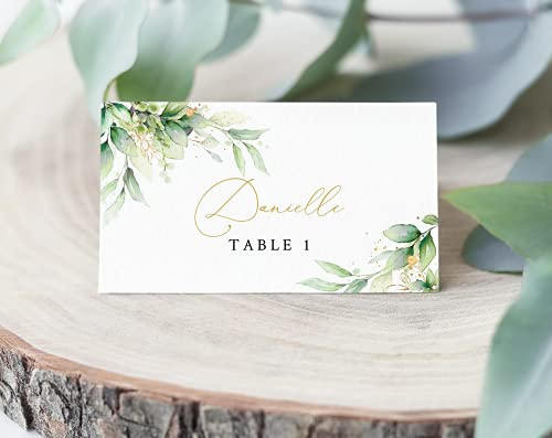 Gold amp Greenery Place Cards   Escort Seating Cards   Wedding