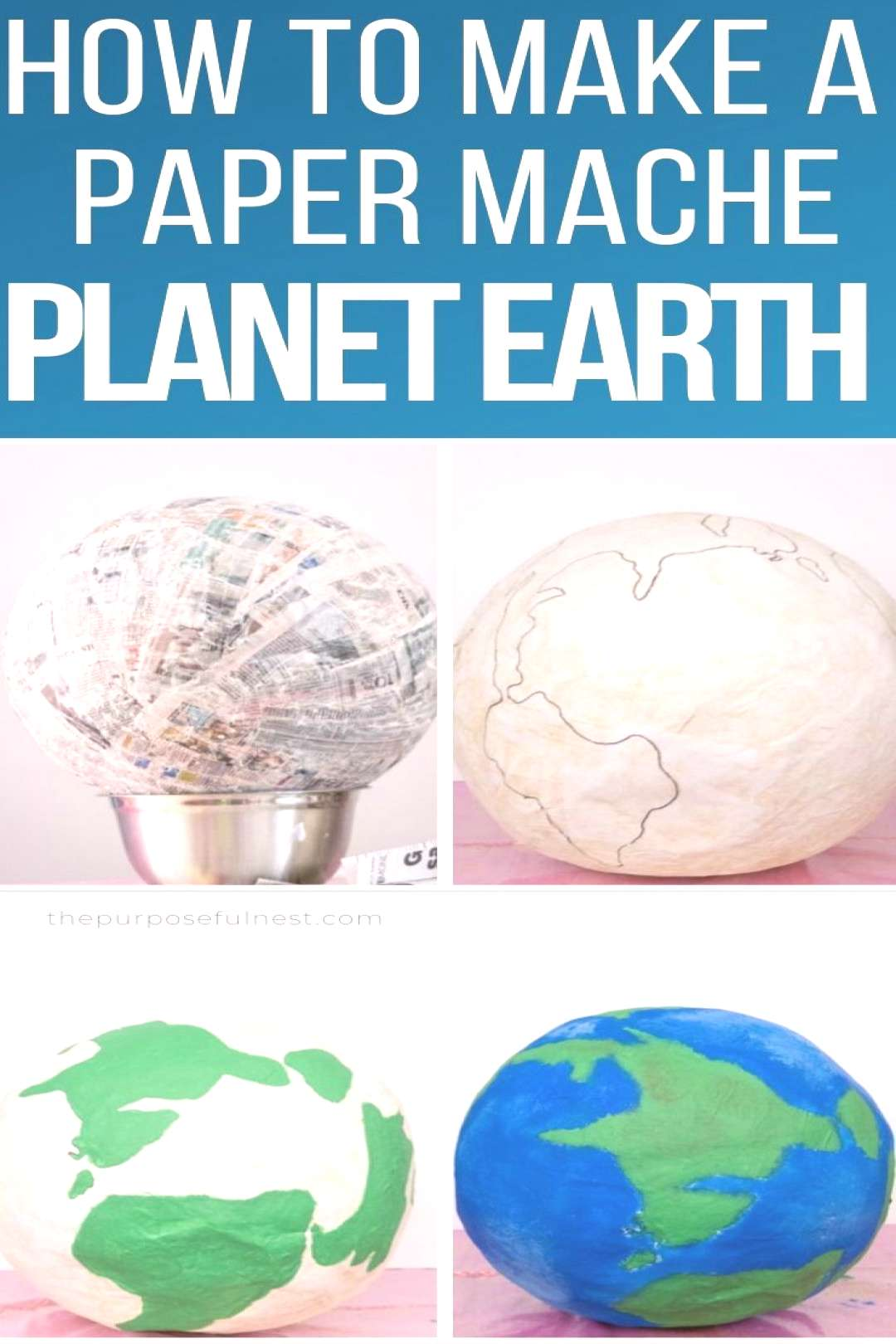 How to Make a Paper Mache Planet Earth Space Party Prop | The Purposeful Nest