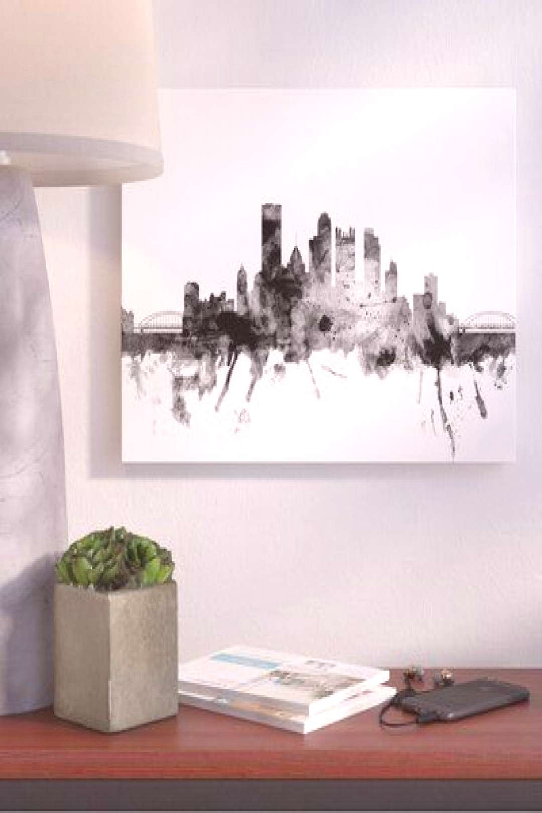 Ivy Bronx Pittsburgh PA Skyline Graphic Art on Wrapped Canvas Size 30quot H x 47quot W x 2quot D - Ivy B