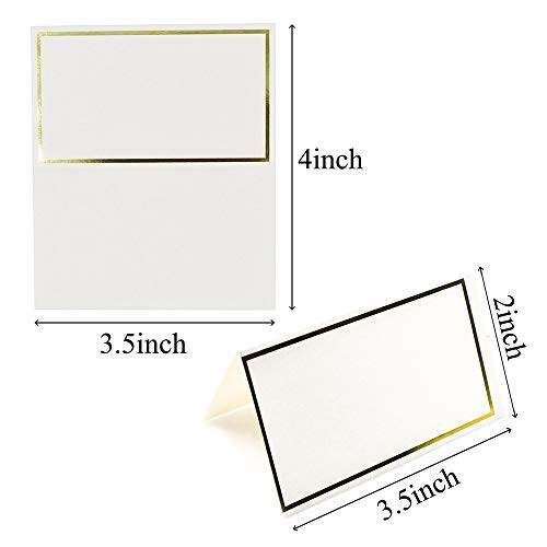 JABINCO Pack of 100 Place Cards - Small Tent Cards with Gold