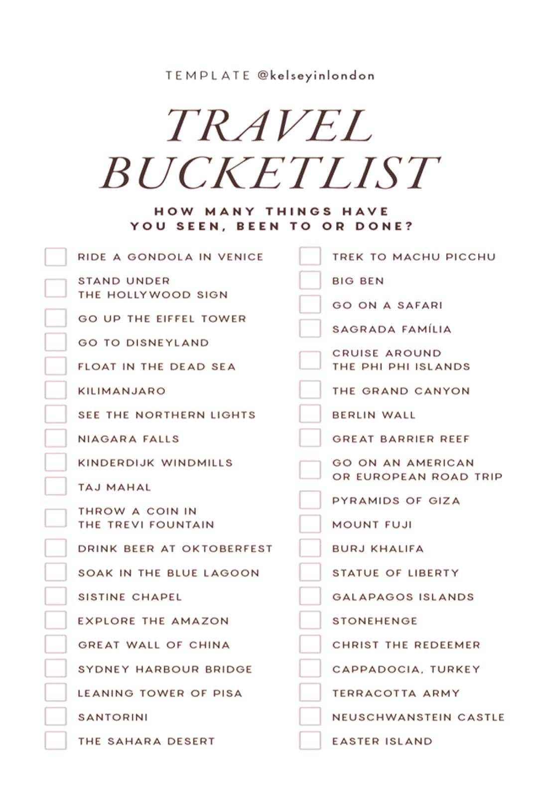 Looking for the ultimate travel bucket list? This board has all the bucket list destinations to sat