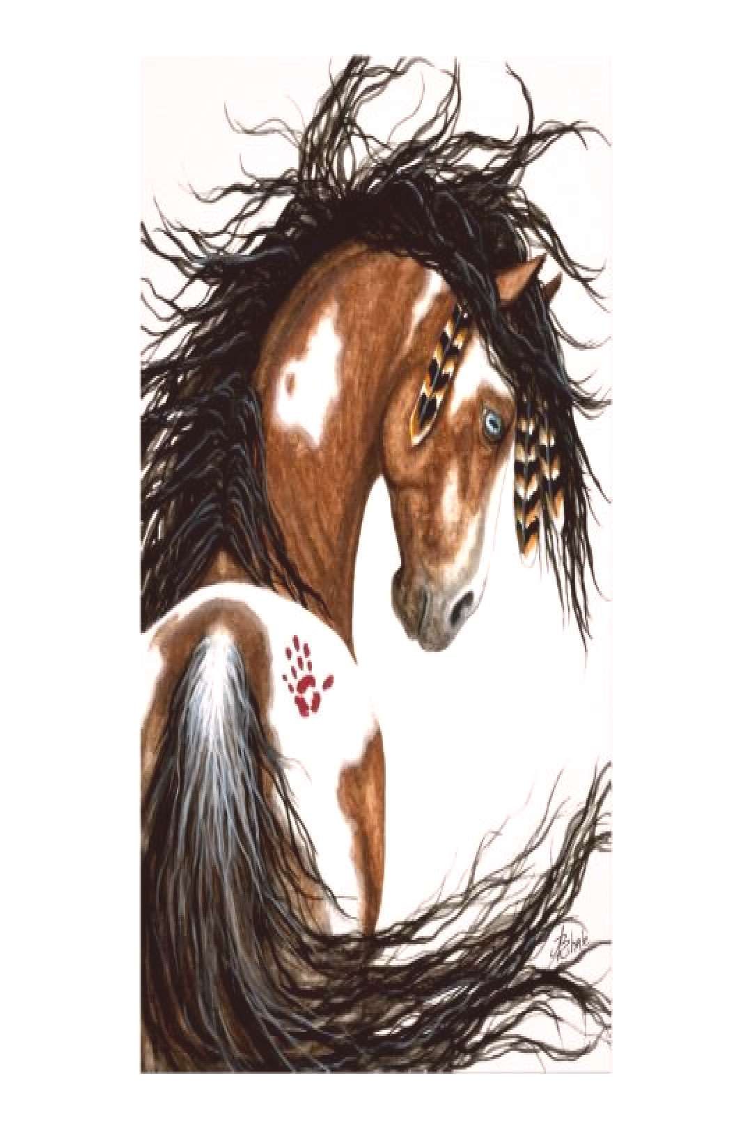 Majestic Pinto Horse War Paint by Bihrle Poster
