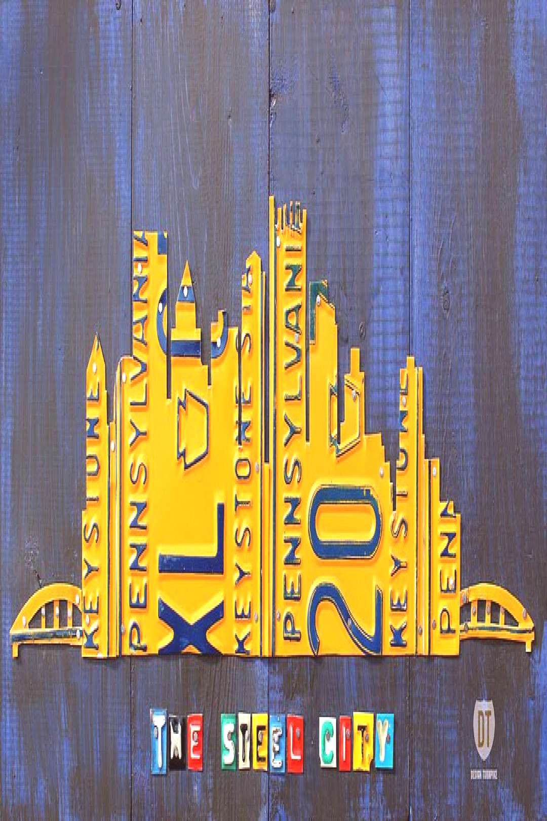 Mixed Media - Pittsburgh Skyline License Plate Art by Design Turnpike ,