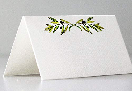 Nancy Nikko Place Cards with Green Leafy Olive Branch for