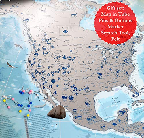 North America Scratch Off Map Lighting in the Dark with