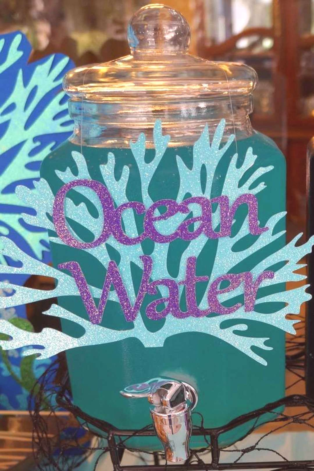 Ocean water drinks at a pirates and mermaids birthday party! See more party idea...