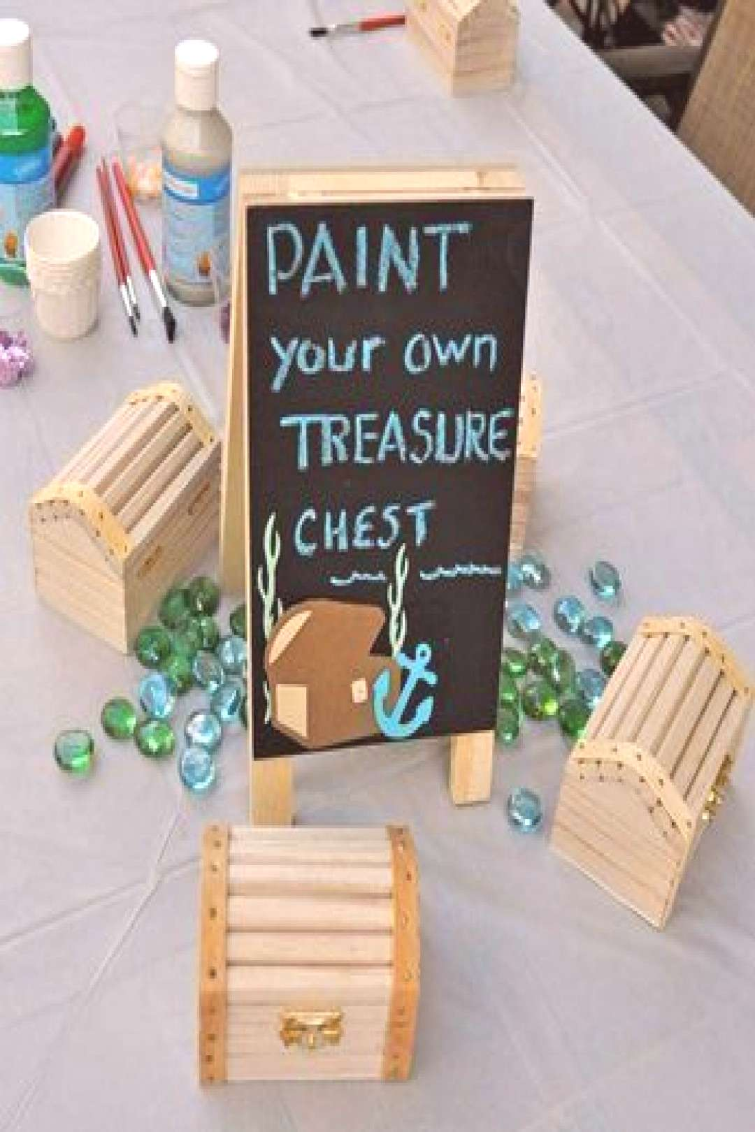 Paint your treasure chest at a pirates and mermaids birthday party! See more par...