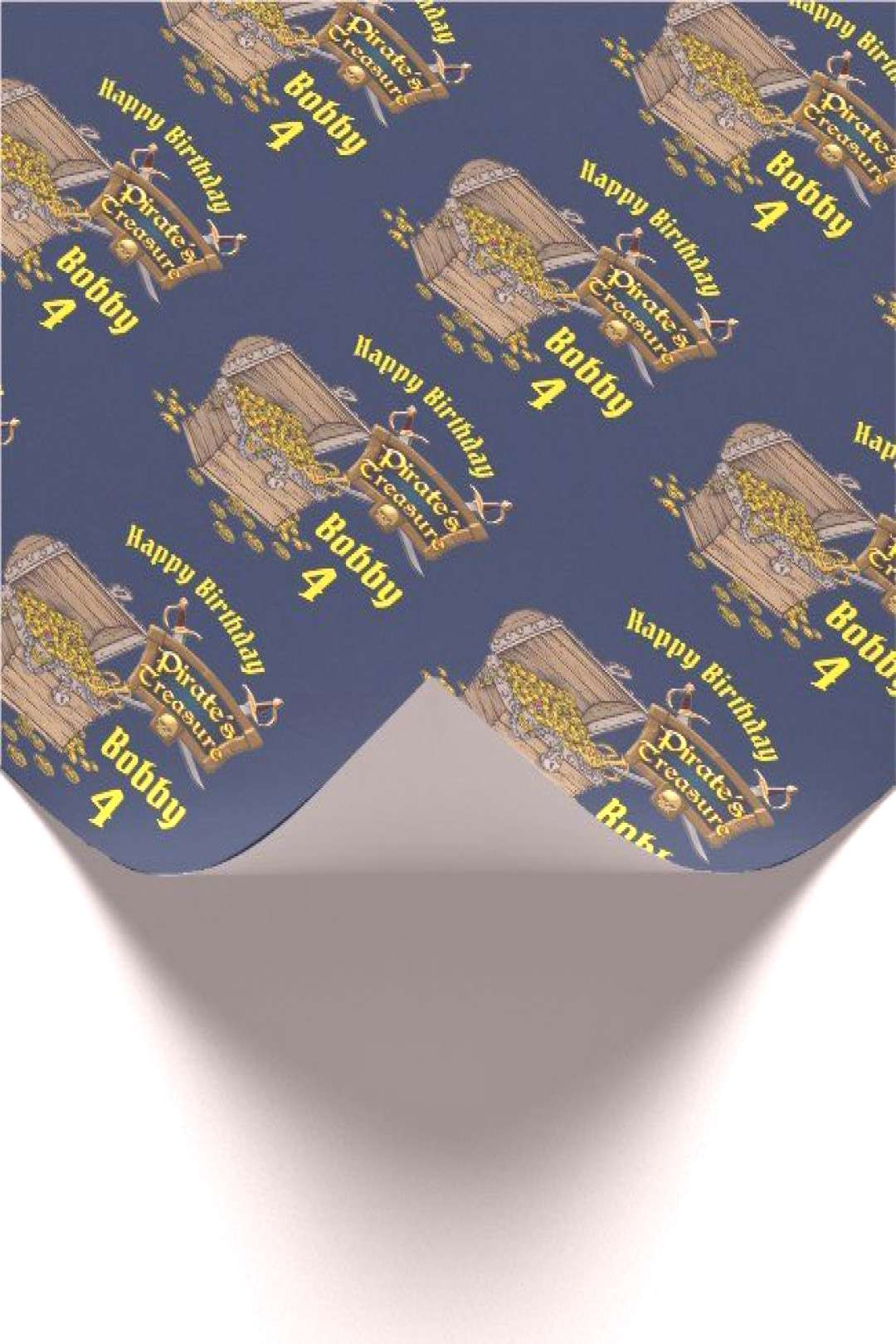 Personalize Birthday Boys Name Pirates Treasure Wrapping Paper