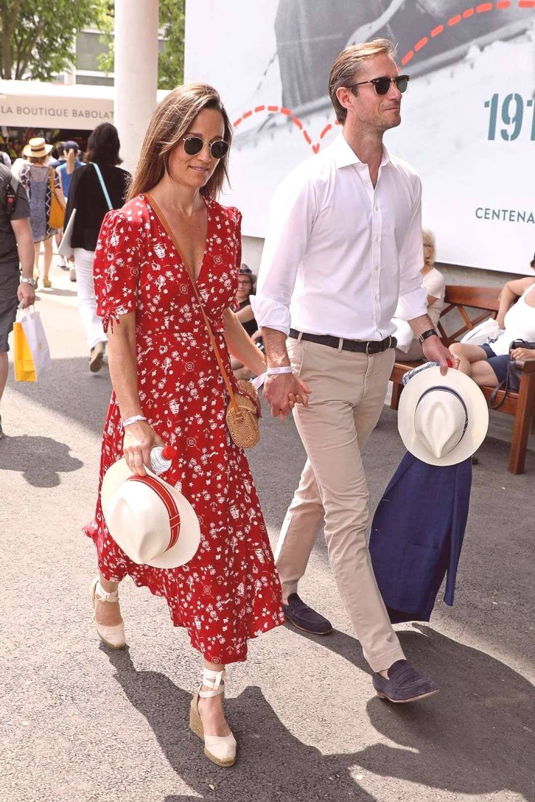 Pippa Middleton in a red maxi dress and espadrilles.