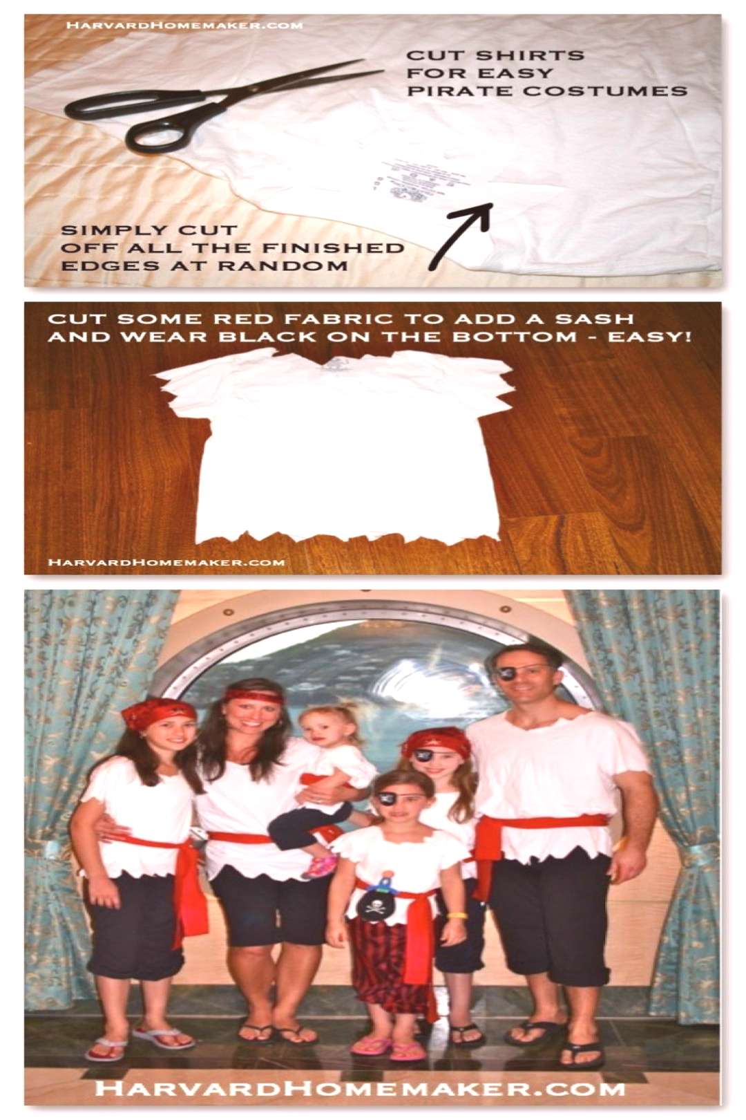 Pirate Costumes DIY - no sew. Article is 15 things to pack for a Disney Cruise. Scroll down to see