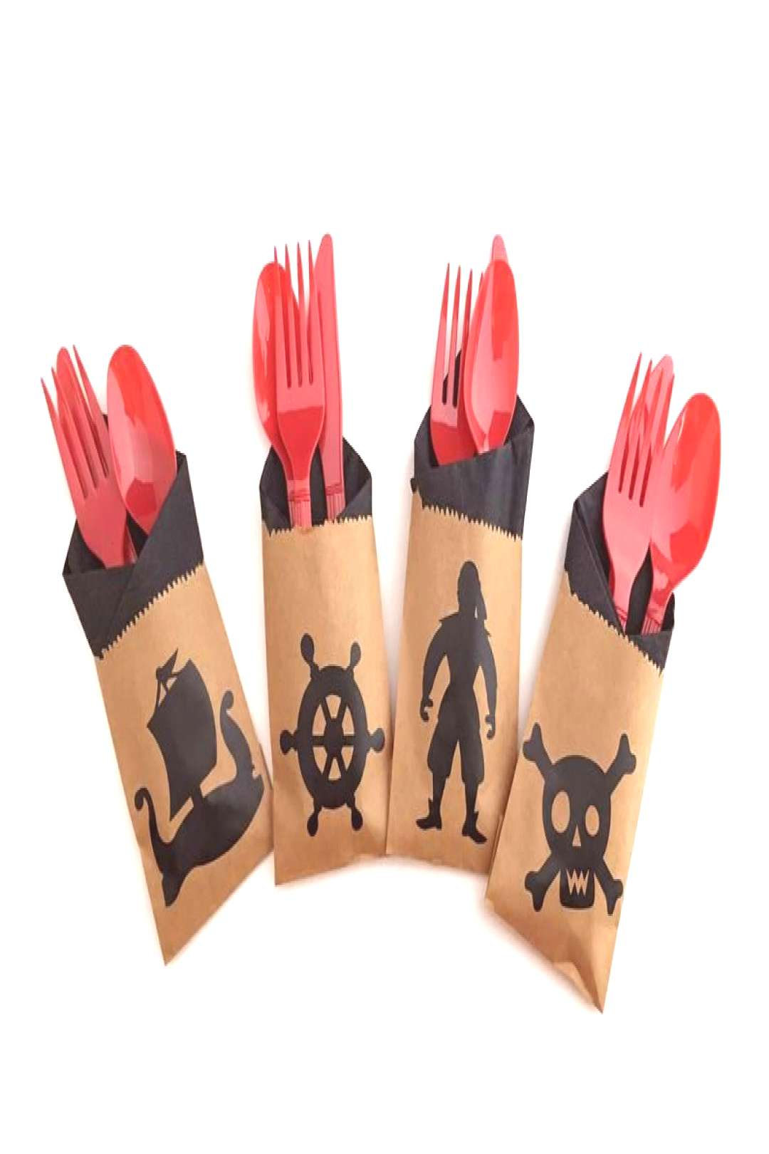 Pirate Cutlery Bags - Pirate Party Decorations, Pirate Birthday Party Supplies Ahoy Matey! Celebrat