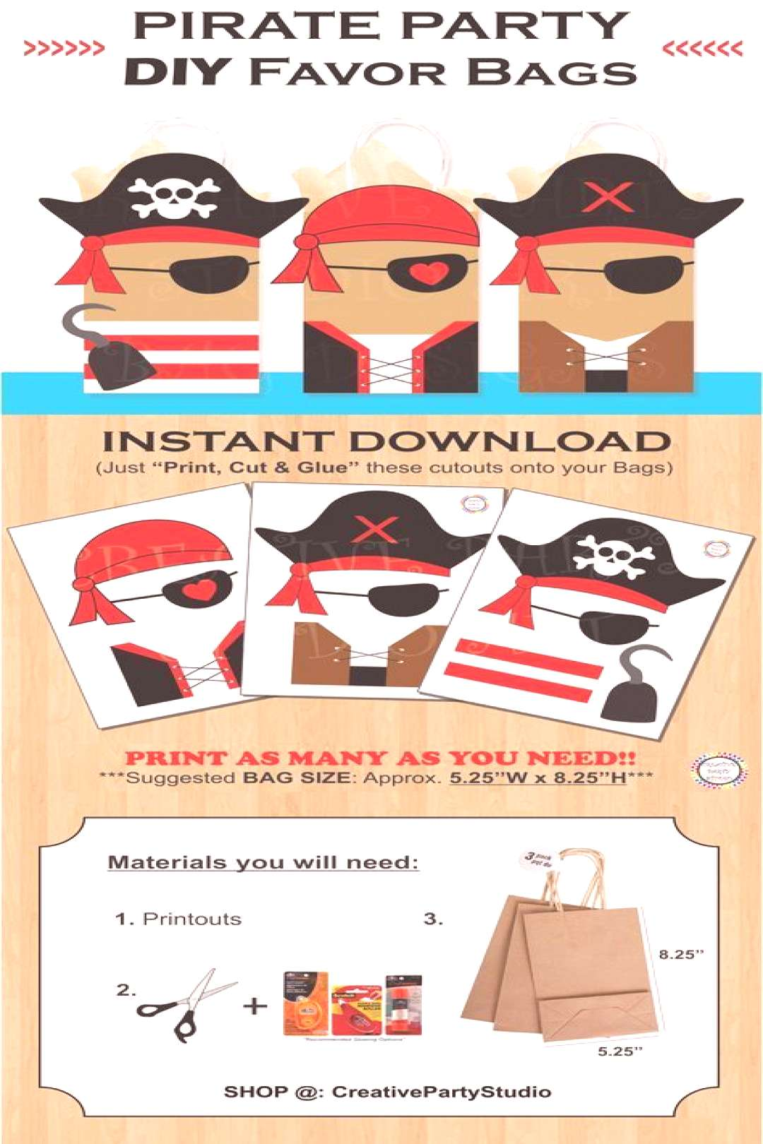Pirate Favor Bags/ Pirate Party Bags/ Pirates Party Supplies/ Pirates Birthday Theme/ Pirate ... Pi