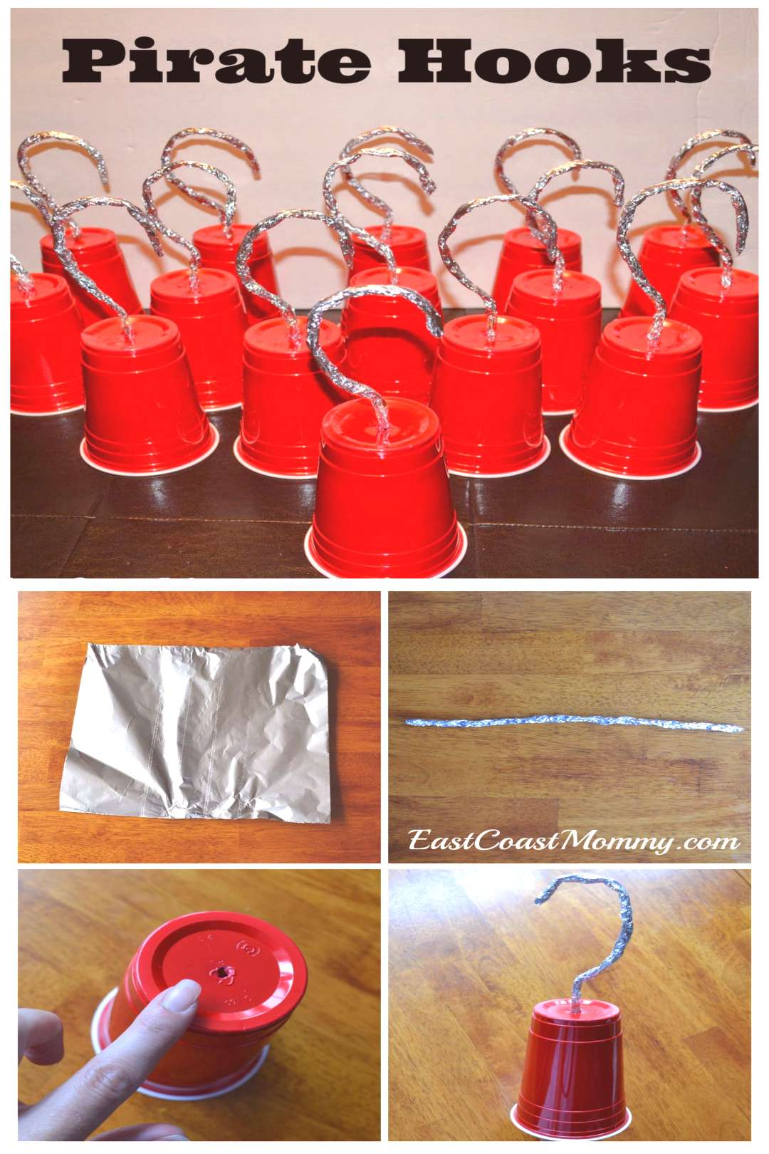Pirate hooks from solo cups. (Decorations optional.)