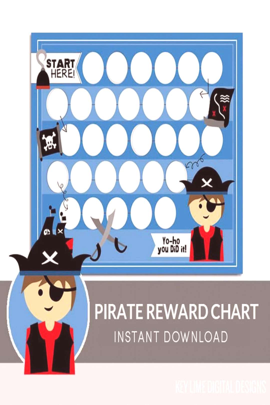 Pirate - Kids Reward Chart - Instant Download Reinforce your childs good behavior with this Pirat