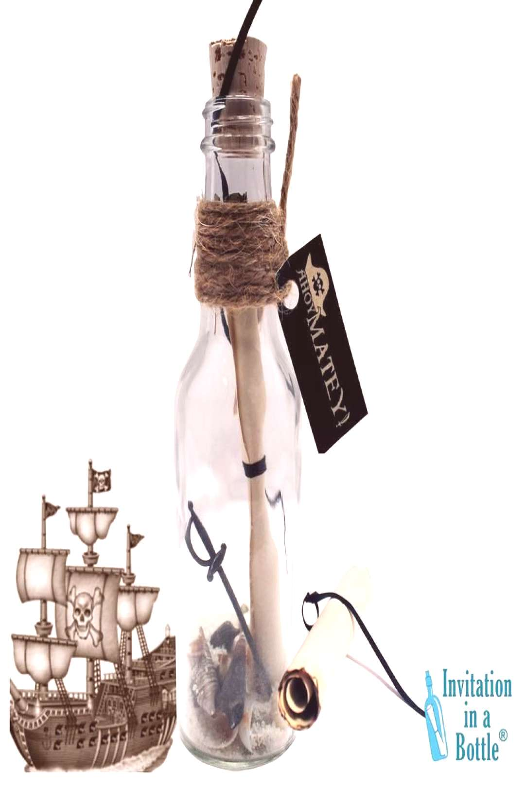 PIRATE Party Invitations, Kids Birthday Party Invitations In A Bottle Ahoy, Mateys! Chart ye course