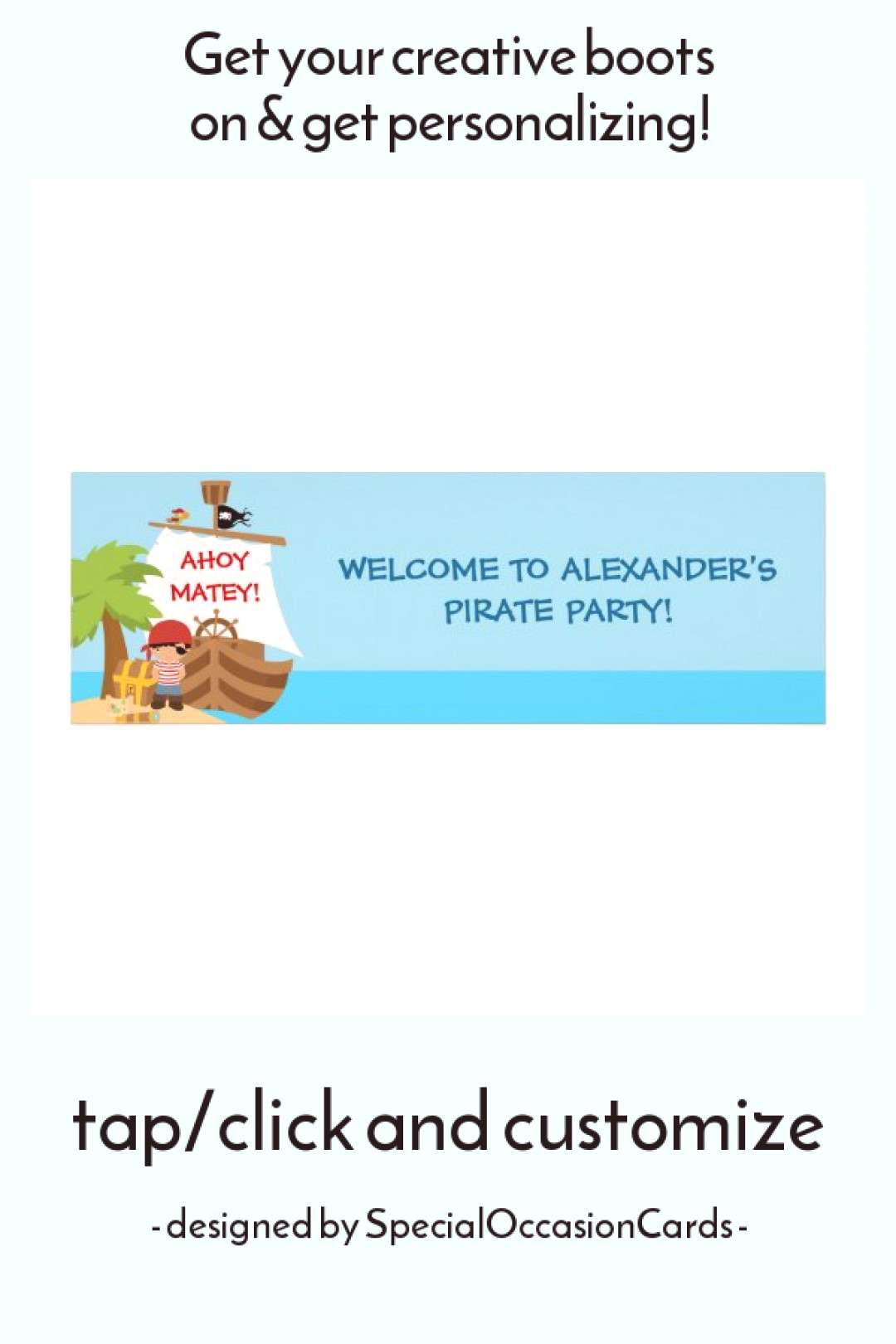Pirate Ship Boy Birthday Party Banner Poster