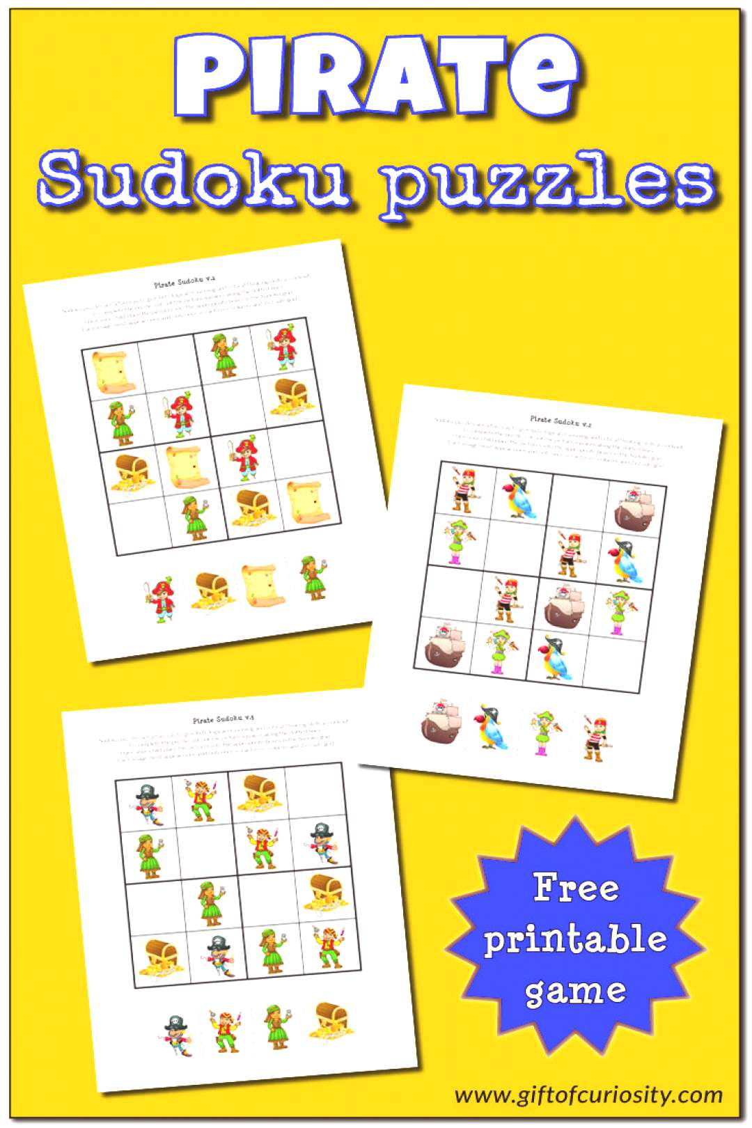 Pirate Sudoku Puzzles FREE Pirate Sudoku Puzzles for kids    Gift of Curiosity