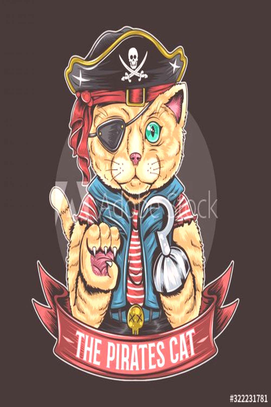 PIRATES CAT VECTOR ARTWORK WITH EDITABLE LAYERS ,