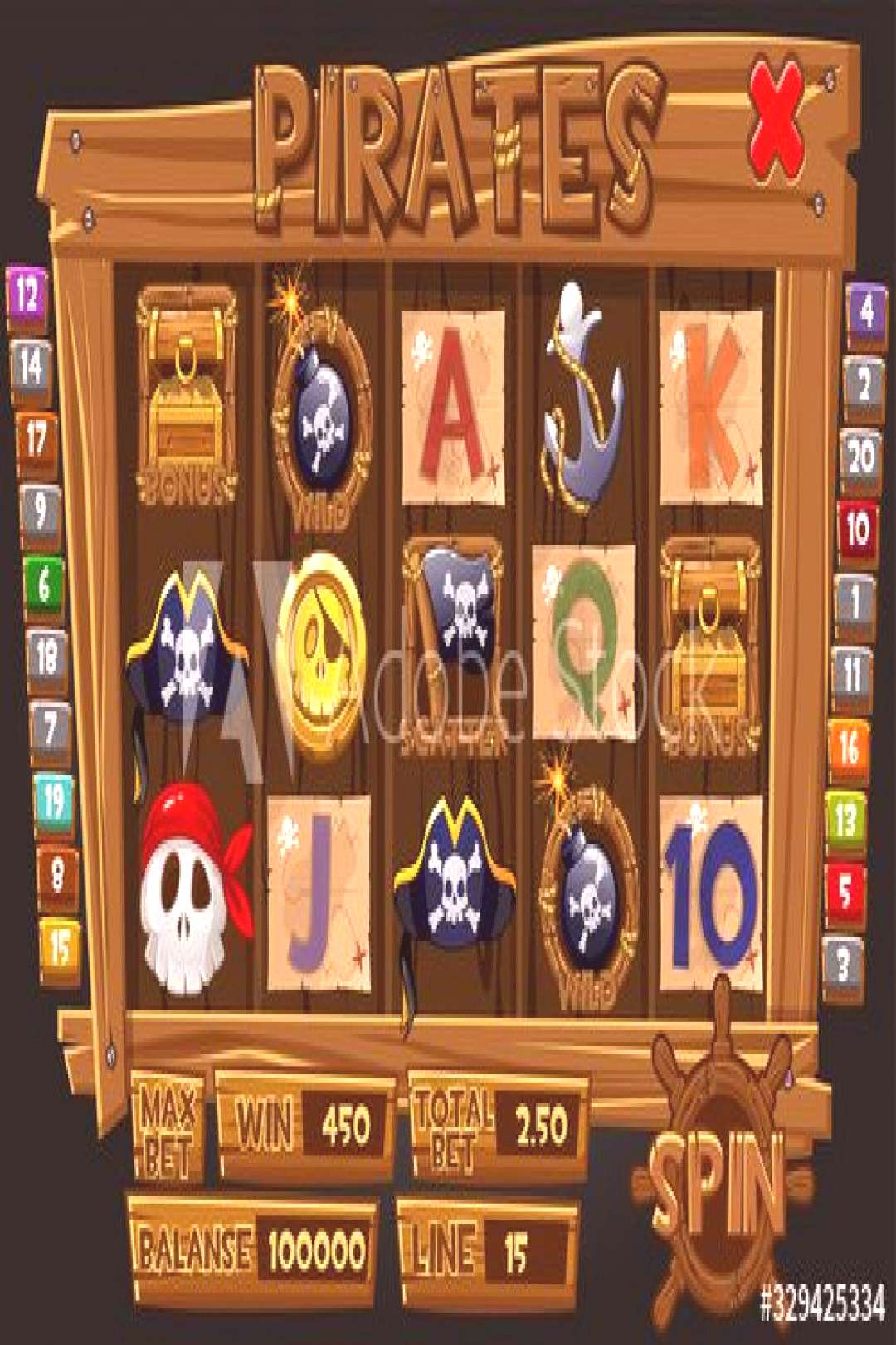 Pirates graphical interface and icons for slot machines. ,