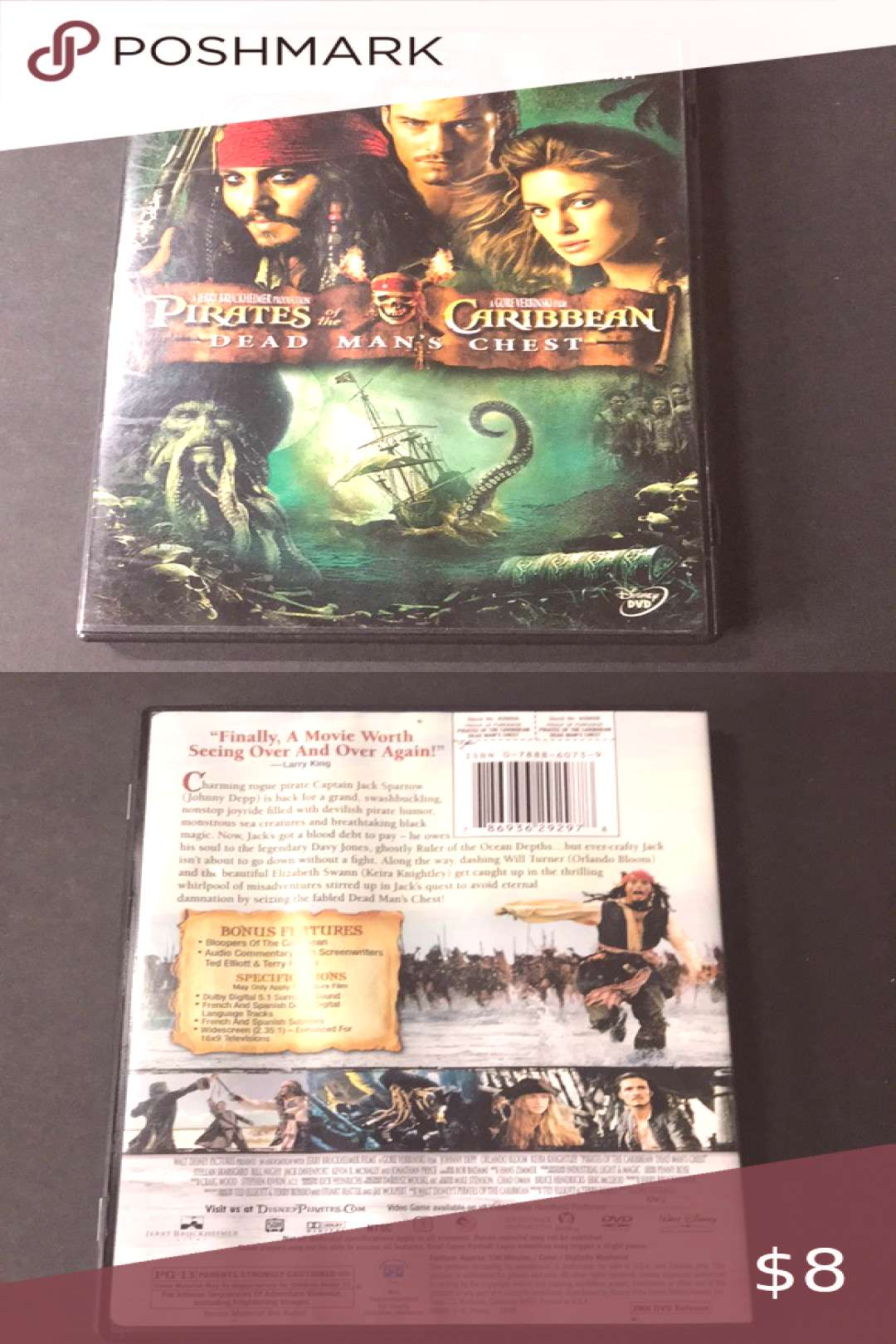 Pirates of the Caribbean Dead Mans Chest (DVD) Charming rogue pirate Captain J... - -