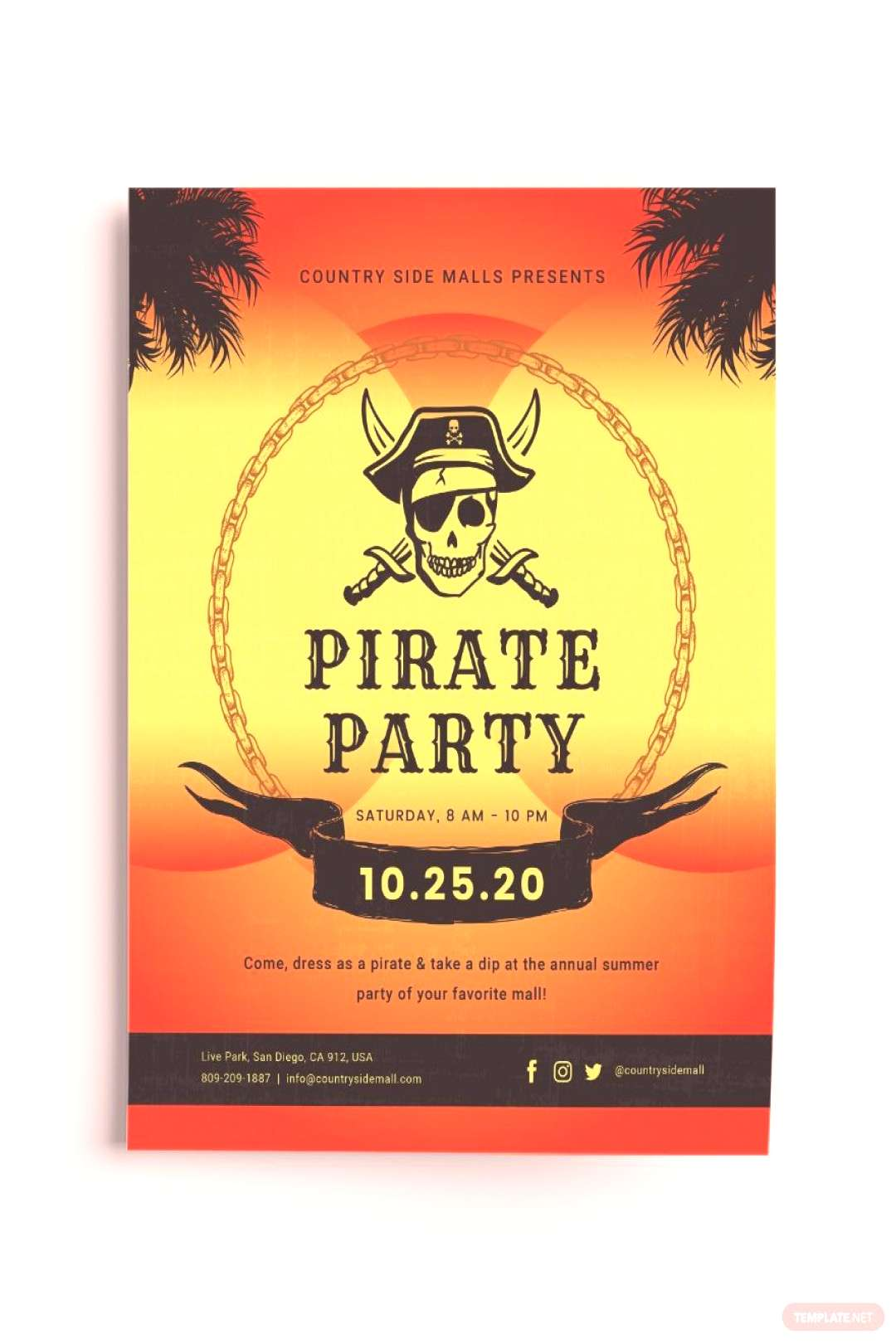 Pirates Party Flyer Template ,