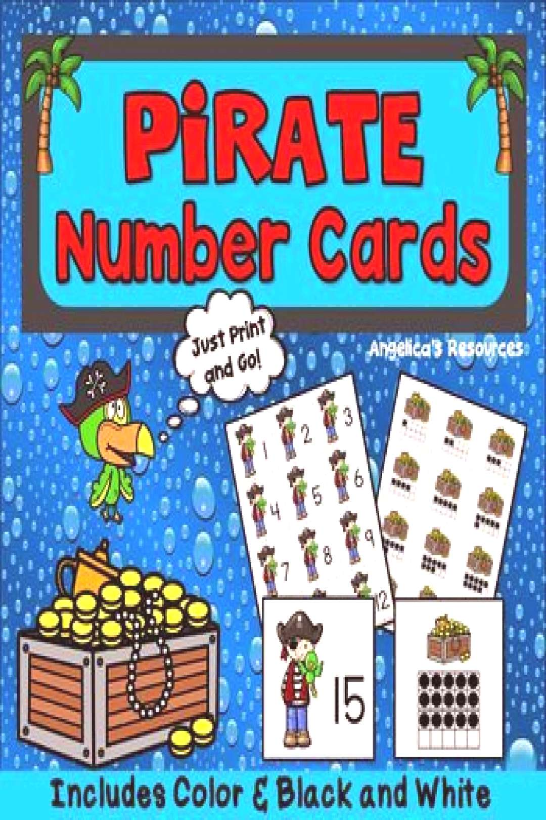Pirates Theme Counting Cards - Numbers 1-20 - Number Sense - Ten Frames Pirates Theme Counting C