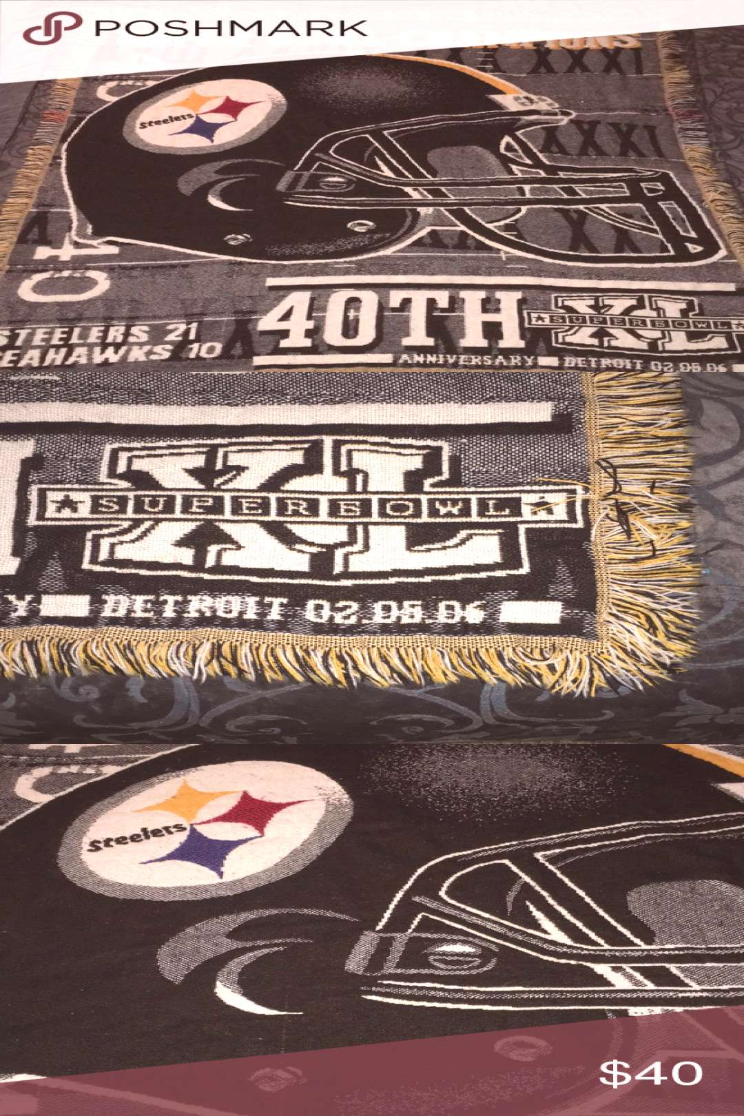 Pittsburgh Steelers 5FTX4FT Super Bowl XL Blanket Blanket in excellent like new ... Pittsburgh Stee