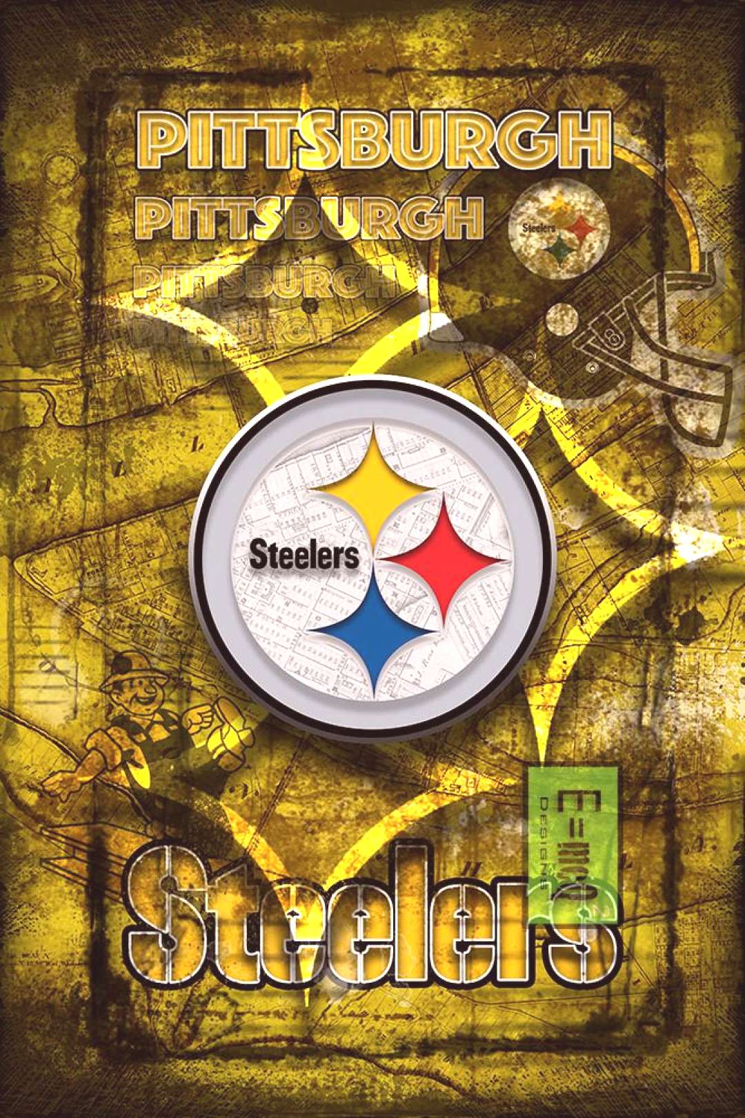 Pittsburgh Steelers Football Poster, Pittsburgh Steeler Gift, Pittsburgh Steelers Man Cave Poster -