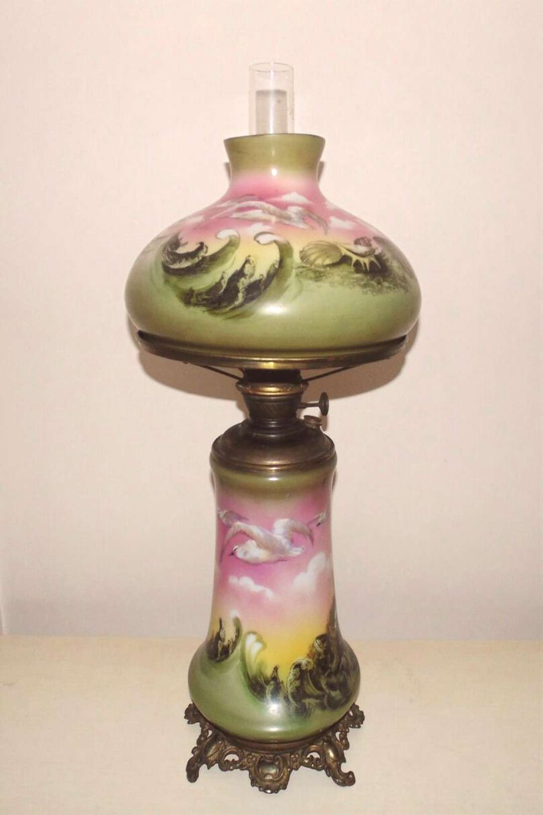 RARE Seagull Mermaid Banquet Lamp Oil / Kerosene Pittsburgh Gone with the Wind