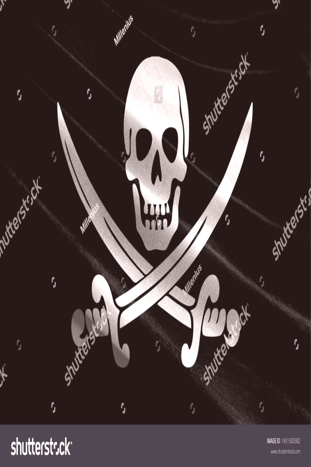 Realistic flag of Pirates black on the wavy surface of fabric ,