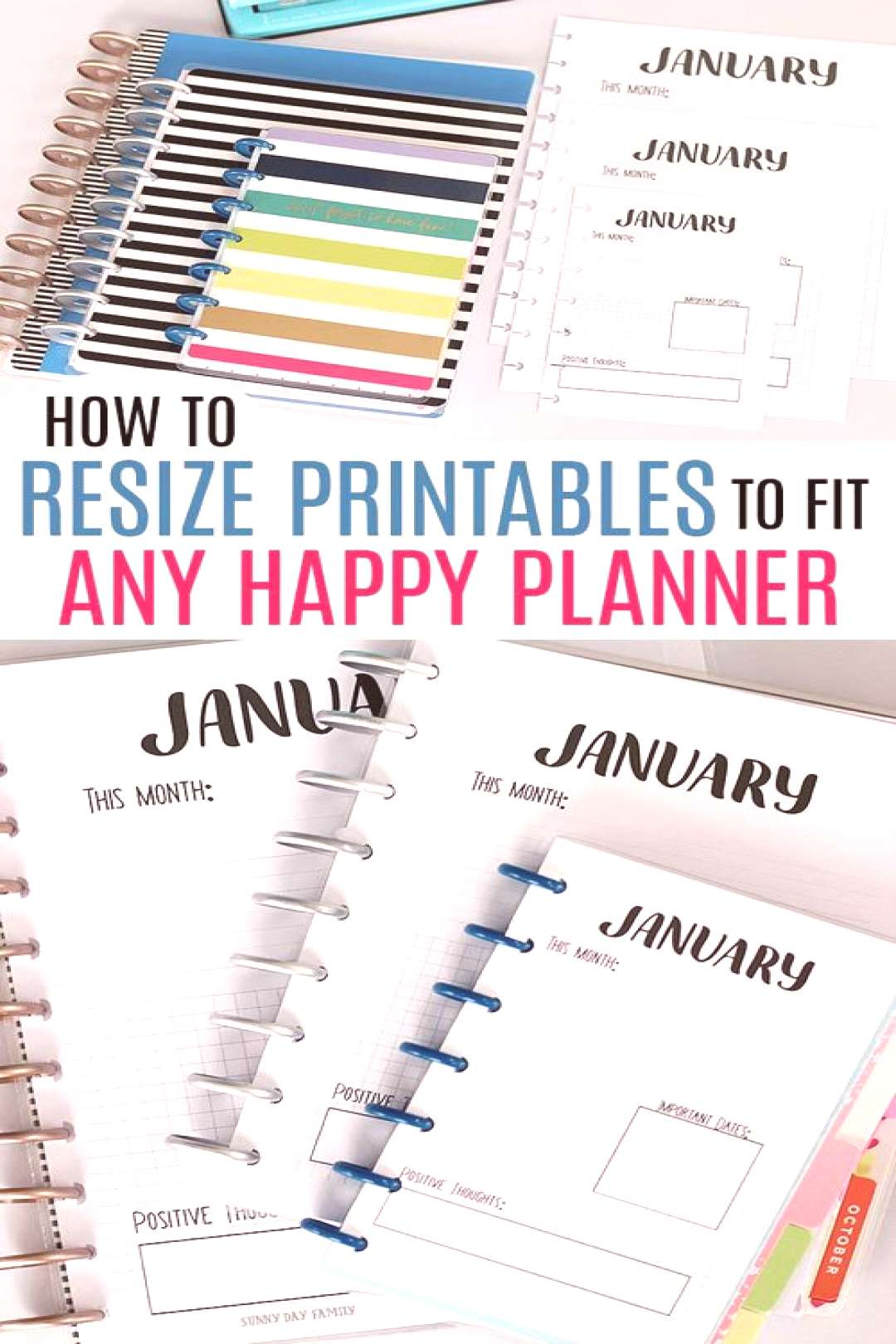 Resize any printable to fit a Classic Happy Planner, Mini Happy Planner, or any custom size with th
