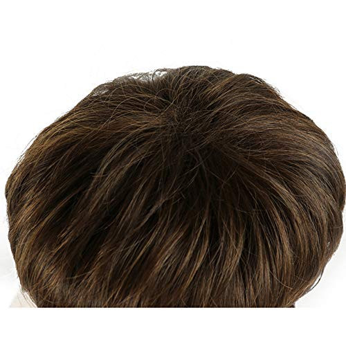 Short Pixie Cut Wigs With Bangs Cute Brown Wig for Woman Man