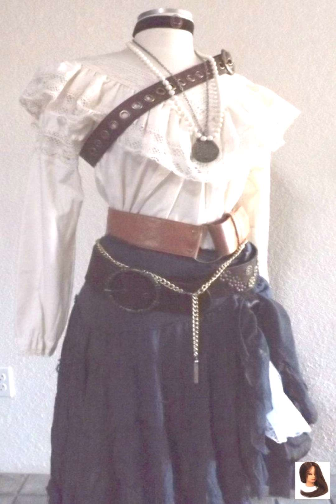 Style blouses Womens Complete Pirate Costume Including Jewelry A Blouse Skirt amp Belt Vict...