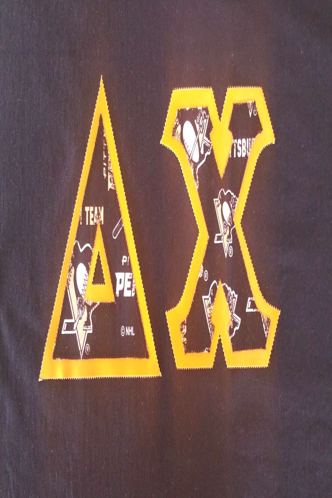 T-Shirt quotDelta Chiquot with Double Fabric Letters (Goldenrod/Pgh Penguins) $12.00 Be sure to check o