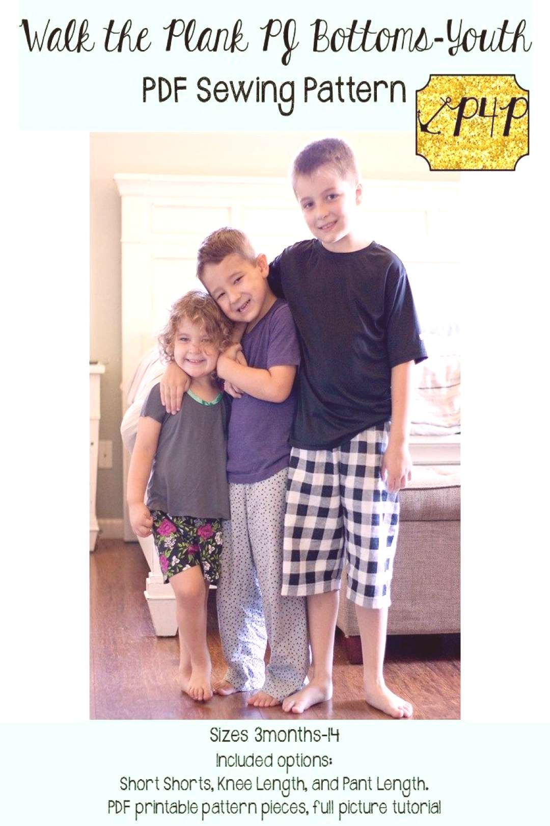 Walk the Plank PJ Bottoms- Youth Unisex - Patterns for Pirates - Sewing Patterns