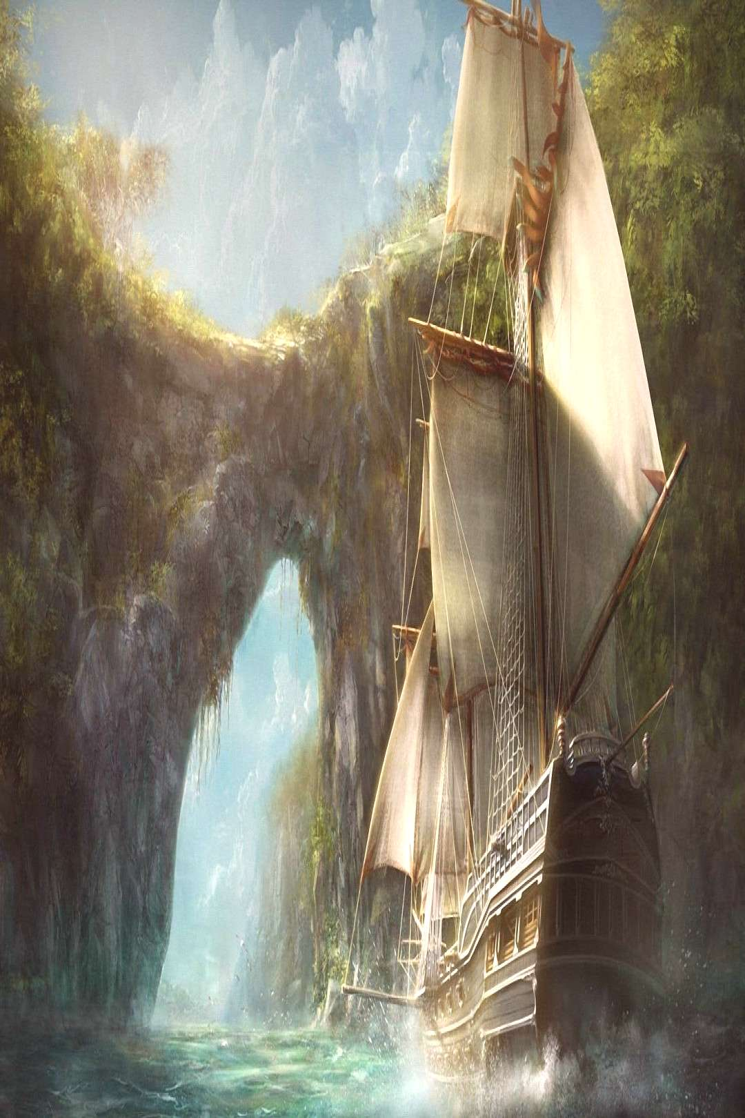 white and brown galleon ship illustration old ship digital art